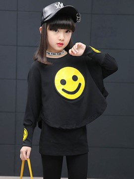 Ericdress Casual Smiling Face Tracusits T-Shirts Leggings 2Pcs Girls Outfit