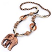 Ericdress Wooden Elephant Pendant Beading Necklace