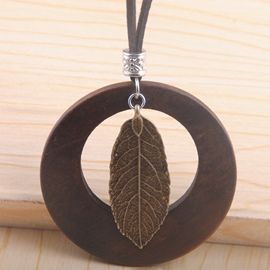Ericdress Wooden Circle of Leaf Long Leather Rope Necklace