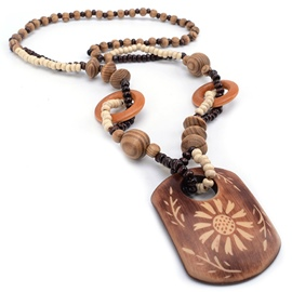 Ericdress Flowers Carved Geometric Wooden Pendant Beading Necklace