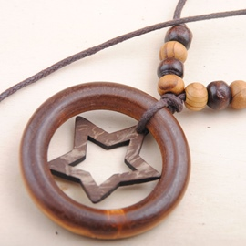 Ericdress Wooden Circle & Star Design Beading Necklace