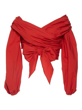 Ericdress Red Tie Bow Front Pleated Crop Blouse
