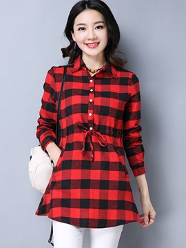 Ericdress Slim Plaid Lace-Up Casual Blouse
