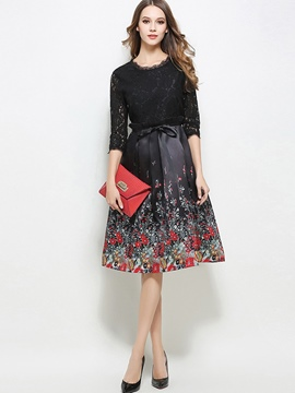 Ericdress Floral Print Hollow Belt Lace Dress