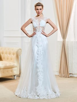 Ericdress Sexy Illusion Neckline Appliques A Line Wedding Dress