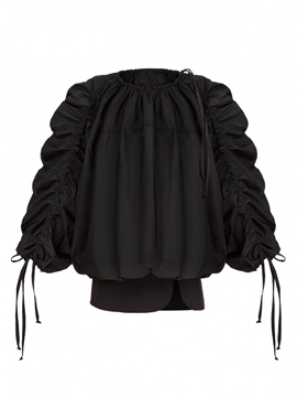 Ericdress Black Pleated Puff Blouse