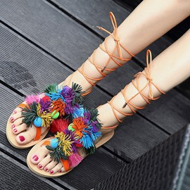 Ericdress Bohemian Tassels Lace up Toe Ring Flat Sandals