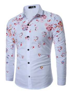 Ericdress Long Sleeve Slim Floral Print Men's Shirt
