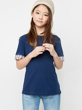 Ericdress Plaid Plain Short Sleeve Girls T-Shirt
