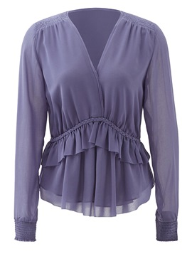 Ericdress V-Neck Pleated Double Layer Blouse