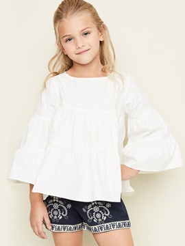 Ericdress Plain Loose 3/4 Length Puff Sleeves Girls Shirt