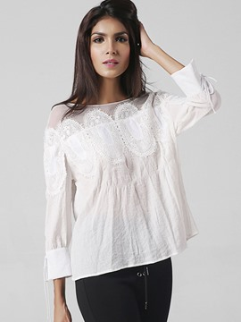 Ericdress Hollow Lace Long Sleeve Blouses