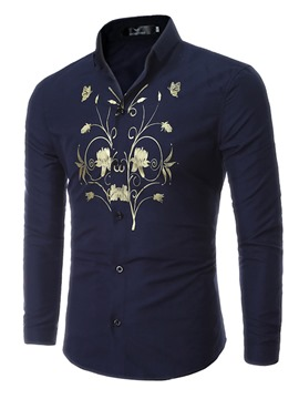 Ericdress Long Sleeve Flower Print Men's Shirt