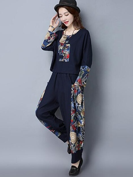 Ericdress Ethnic Print Patchwork Wide Legs Leisure Suit
