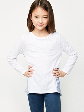 Ericdress Stripe Patchwork Asmy Long Sleeve Girls T-Shirt
