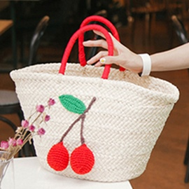 Ericdress Leisure Cherry Knitted Straw Handbag