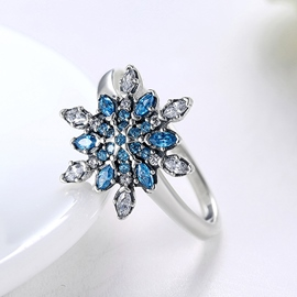 Ericdress Blue Snowflake Shaped Diamante Ring