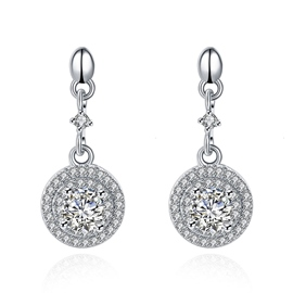 Ericdress 925 Silver Full Rhinestone Circle Earrings