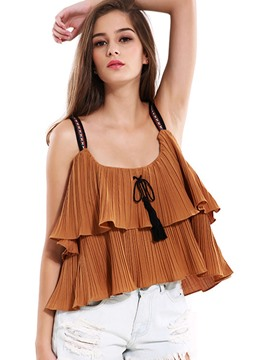 Ericdress Pleated Strapped Frill Vest