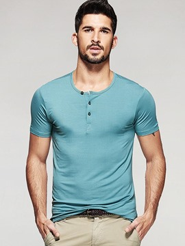 Ericdress Solid Color Button Collar Casual Slim Men's T-Shirt