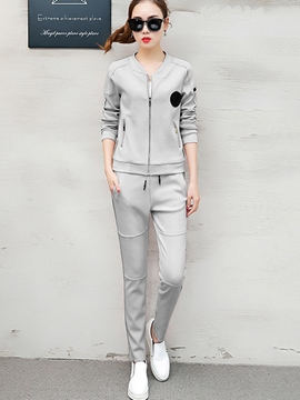 Ericdress Embroidery Long Sleeve Zipper Hoodie Pants Suit