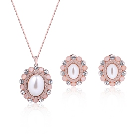Ericdress Pearl Inlaid Rose Gold Two-Pieces Jewelry Set