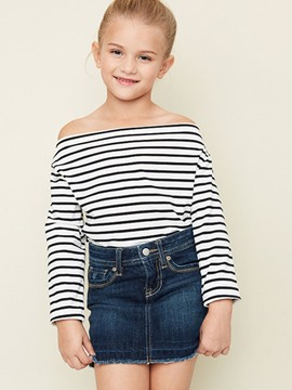 Ericdress Stripe Color Block Slash Neck Girls Shirt