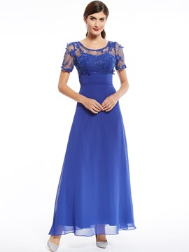 Ericdress Scoop Neck Appliques Beading Short Sleeves Evening Dress