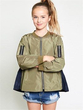 Ericdress Color Block Lace-Up Girls Jacket