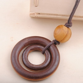 Ericdress Long Double Wooden Circle Pendant Necklace