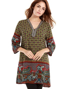 Ericdress V-Neck Geometric Printed T-Shirt