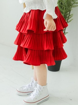 Ericdress Pleated Layered Knee-Length Girls Skirt