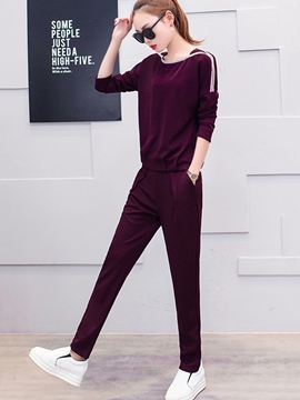 Ericdress Stripe Long Sleeve Slim Leisure Suit