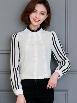 Ericdress Stripped Lace Patchwork Blouse