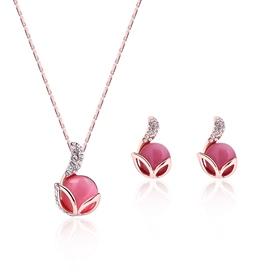 Ericdress Rose Opal Design Alloy Plated Jewelry Set