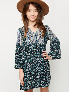 Ericdress Floral Patchwork Ethnic Girls Dress