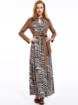 Ericdress Zebra Stripe Lapel Expansion Maxi Dress
