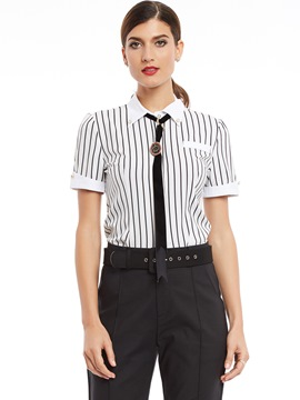 Ericdress Stripped Short-Sleeve Blouse