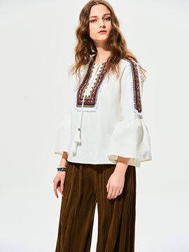 Ericdress Geometric Pattern Tassel Embroidery Patchwork Blouse