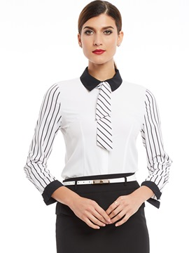 Ericdress Color Block Stripped Patchwork Blouse