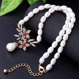 Ericdress Diamante Flowers Artificial Pearls Necklace