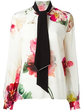 Ericdress Floral Print Tie Front Blouse