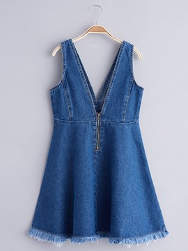 Ericdress Plain V-Neck Sleeveless Suspenders Dress