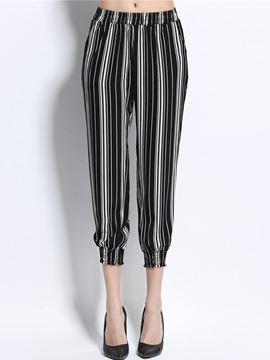 Ericdress Stripe Print Patchwork Elastics Loose Pants