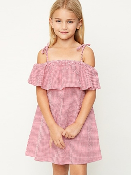 Ericdress Plaid Falbala Spaghetti Strap Girls Dress