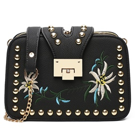 Ericdress Rivets Ethnic Embroidery Crossbody Bag