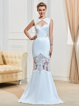 Ericdress Fancy Appliques Jewel Backless Mermaid Wedding Dress
