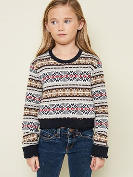 Ericdress Loose Stripe Color Block Girls Sweater
