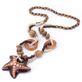 Ericdress Wooden Star Pendant Circular Ring Beading Necklace