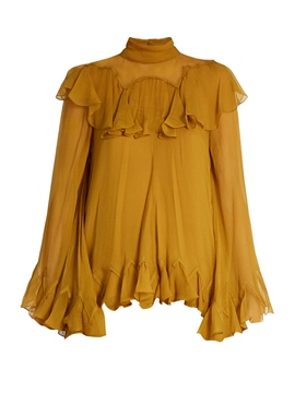 Ericdress Yellow Falbala Big Cuff Pleated Flare Blouse